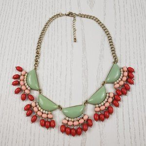 Jewelry - Gold Tone Green Coral Pink Cluster Necklace Bib